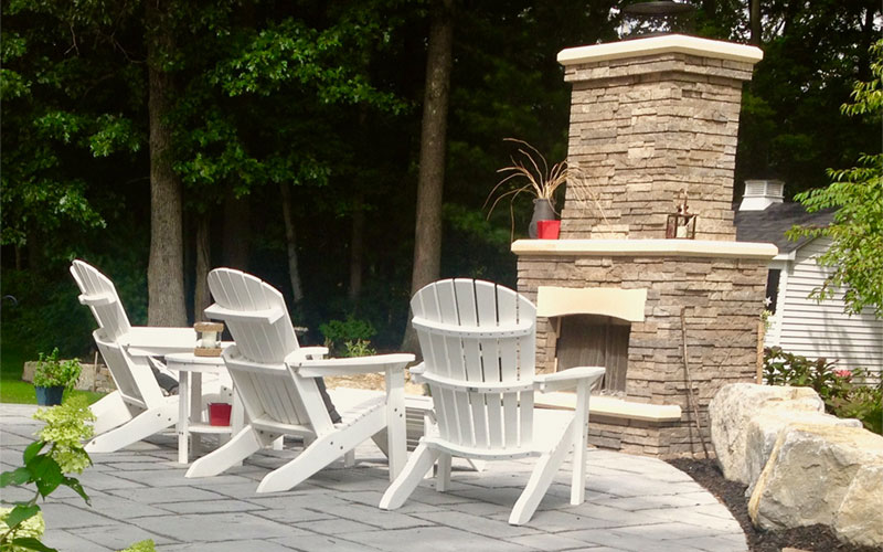 firepit and fireplace design by grasshopper gardens