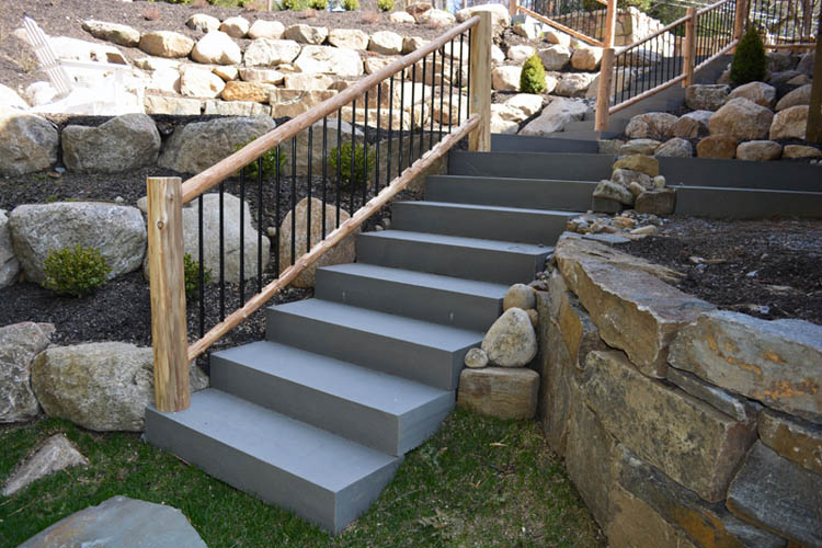 Concrete steps with wood railings