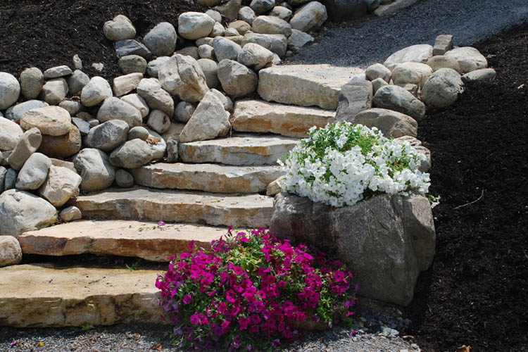 Stone steps with smaller stones on edges