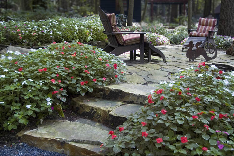 Stone steps leading to patio with chairs