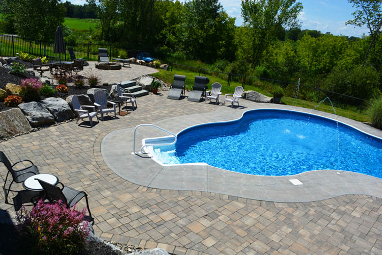 Pool, stone patio