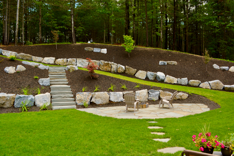 landscape design on a slope by Grasshopper Gardens