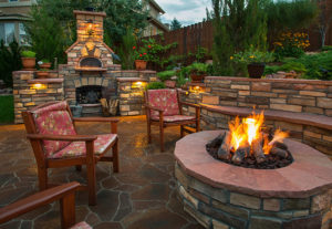 Outdoor fire pit and fireplace