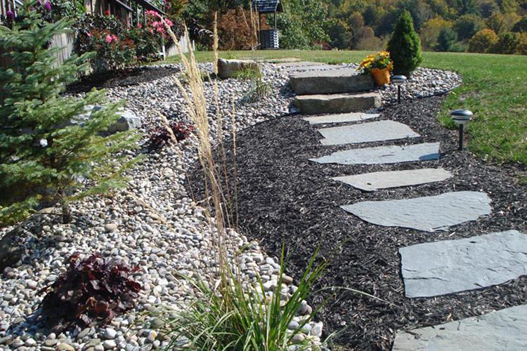 Large stone patio