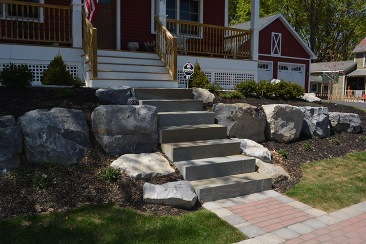 Stone steps out front door